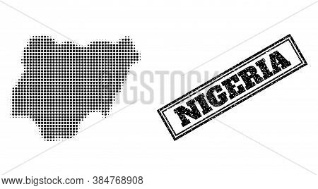 Halftone Map Of Nigeria, And Rubber Seal Stamp. Halftone Map Of Nigeria Constructed With Small Black