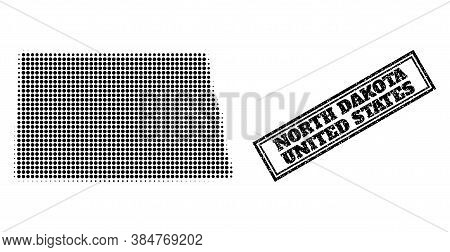 Halftone Map Of North Dakota State, And Dirty Seal Stamp. Halftone Map Of North Dakota State Designe