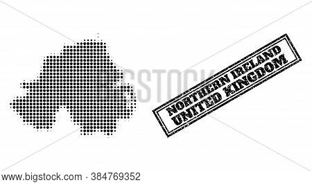 Halftone Map Of Northern Ireland, And Unclean Seal Stamp. Halftone Map Of Northern Ireland Generated