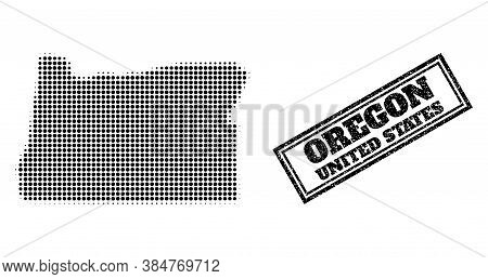 Halftone Map Of Oregon State, And Unclean Watermark. Halftone Map Of Oregon State Constructed With S