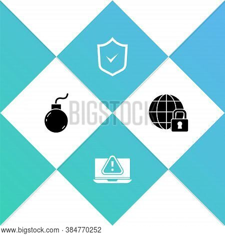 Set Bomb Ready To Explode, Laptop With Exclamation Mark, Shield Check And Global Lockdown Icon. Vect