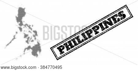 Halftone Map Of Philippines, And Grunge Seal. Halftone Map Of Philippines Designed With Small Black