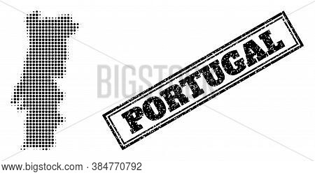 Halftone Map Of Portugal, And Dirty Seal. Halftone Map Of Portugal Generated With Small Black Circle
