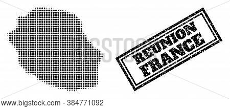 Halftone Map Of Reunion Island, And Rubber Seal. Halftone Map Of Reunion Island Generated With Small