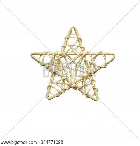 Christmas Decoration Wicker Star Made Of Rattan On White Background