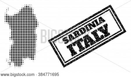 Halftone Map Of Sardinia Region, And Grunge Seal. Halftone Map Of Sardinia Region Generated With Sma