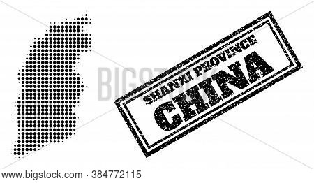 Halftone Map Of Shanxi Province, And Scratched Watermark. Halftone Map Of Shanxi Province Made With
