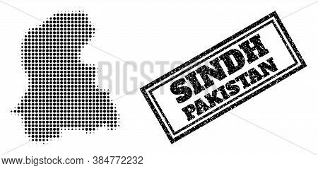Halftone Map Of Sindh Province, And Rubber Seal Stamp. Halftone Map Of Sindh Province Made With Smal