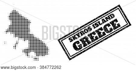 Halftone Map Of Skyros Island, And Scratched Seal. Halftone Map Of Skyros Island Made With Small Bla
