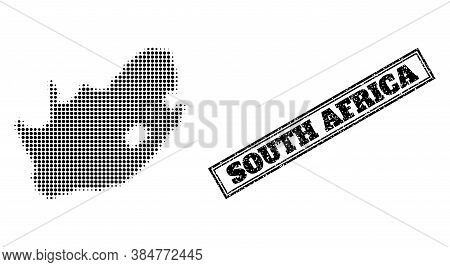 Halftone Map Of South African Republic, And Grunge Stamp. Halftone Map Of South African Republic Con