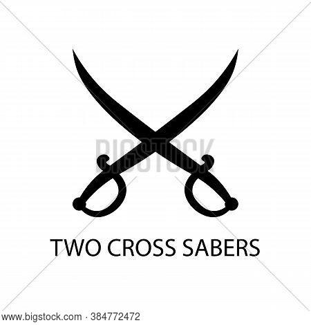 Two Saber Black Sign Icon. Vector Illustration Eps 10