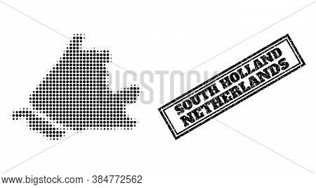 Halftone Map Of South Holland, And Grunge Seal. Halftone Map Of South Holland Generated With Small B