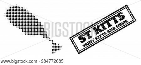 Halftone Map Of St Kitts Island, And Grunge Seal. Halftone Map Of St Kitts Island Designed With Smal