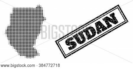 Halftone Map Of Sudan, And Scratched Watermark. Halftone Map Of Sudan Generated With Small Black Sph