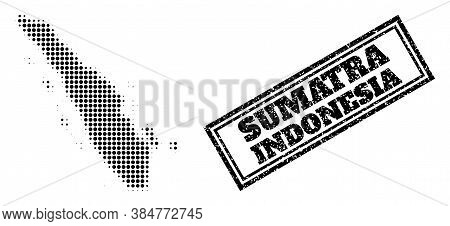 Halftone Map Of Sumatra Island, And Rubber Seal Stamp. Halftone Map Of Sumatra Island Designed With