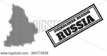 Halftone Map Of Sverdlovsk Region, And Textured Seal Stamp. Halftone Map Of Sverdlovsk Region Constr