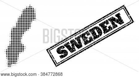Halftone Map Of Sweden, And Scratched Seal. Halftone Map Of Sweden Generated With Small Black Spheri