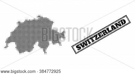 Halftone Map Of Switzerland, And Scratched Watermark. Halftone Map Of Switzerland Generated With Sma