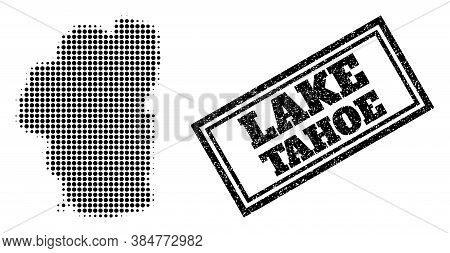 Halftone Map Of Tahoe Lake, And Grunge Seal. Halftone Map Of Tahoe Lake Made With Small Black Spheri