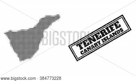 Halftone Map Of Tenerife Island, And Unclean Watermark. Halftone Map Of Tenerife Island Constructed