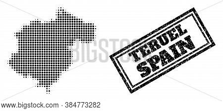 Halftone Map Of Teruel Province, And Grunge Watermark. Halftone Map Of Teruel Province Made With Sma