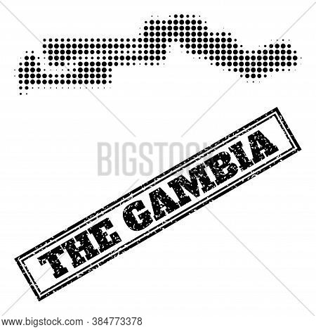 Halftone Map Of The Gambia, And Scratched Watermark. Halftone Map Of The Gambia Made With Small Blac