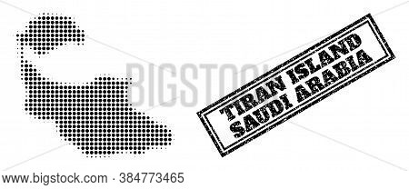 Halftone Map Of Tiran Island, And Unclean Seal. Halftone Map Of Tiran Island Constructed With Small