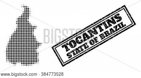 Halftone Map Of Tocantins State, And Unclean Seal. Halftone Map Of Tocantins State Designed With Sma