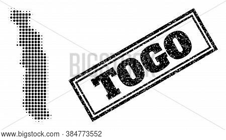Halftone Map Of Togo, And Scratched Seal Stamp. Halftone Map Of Togo Designed With Small Black Spher