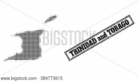 Halftone Map Of Trinidad And Tobago, And Unclean Seal Stamp. Halftone Map Of Trinidad And Tobago Mad