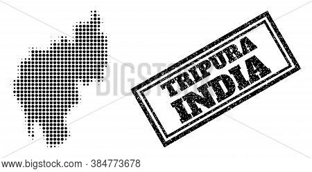 Halftone Map Of Tripura State, And Dirty Seal Stamp. Halftone Map Of Tripura State Designed With Sma