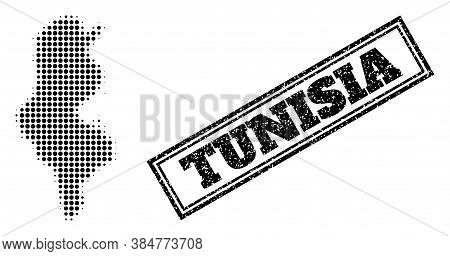 Halftone Map Of Tunisia, And Scratched Watermark. Halftone Map Of Tunisia Constructed With Small Bla