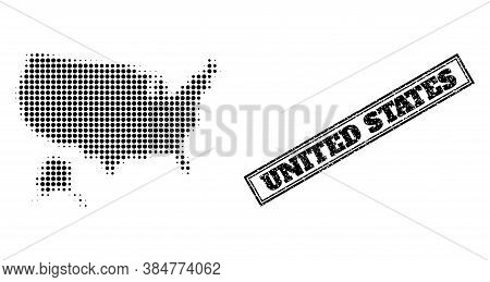 Halftone Map Of Usa And Alaska, And Textured Watermark. Halftone Map Of Usa And Alaska Constructed W