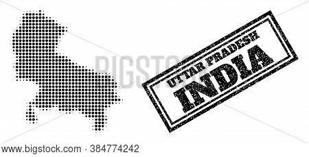 Halftone Map Of Uttar Pradesh State, And Rubber Seal. Halftone Map Of Uttar Pradesh State Generated