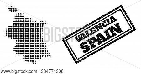 Halftone Map Of Valencia Province, And Grunge Stamp. Halftone Map Of Valencia Province Generated Wit