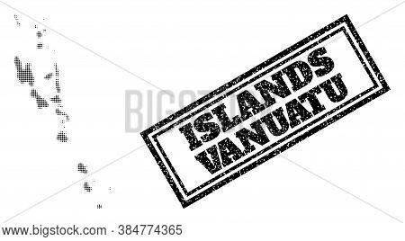 Halftone Map Of Vanuatu Islands, And Scratched Watermark. Halftone Map Of Vanuatu Islands Generated