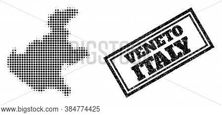Halftone Map Of Veneto Region, And Textured Seal Stamp. Halftone Map Of Veneto Region Made With Smal