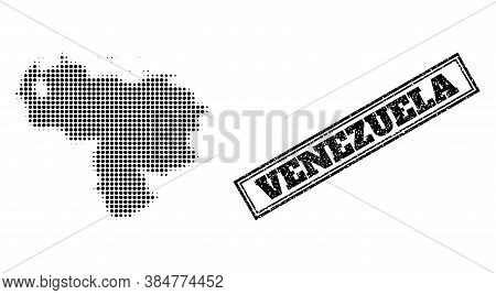 Halftone Map Of Venezuela, And Textured Seal Stamp. Halftone Map Of Venezuela Made With Small Black