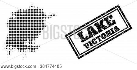 Halftone Map Of Victoria Lake, And Unclean Seal Stamp. Halftone Map Of Victoria Lake Made With Small