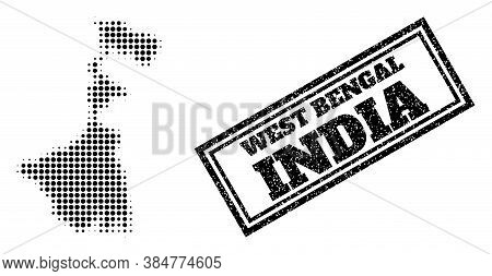 Halftone Map Of West Bengal State, And Rubber Watermark. Halftone Map Of West Bengal State Designed