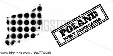 Halftone Map Of West Pomerania Province, And Unclean Stamp. Halftone Map Of West Pomerania Province