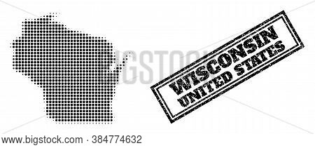 Halftone Map Of Wisconsin State, And Unclean Stamp. Halftone Map Of Wisconsin State Generated With S