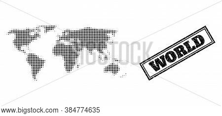 Halftone Map Of World, And Grunge Seal Stamp. Halftone Map Of World Designed With Small Black Circle