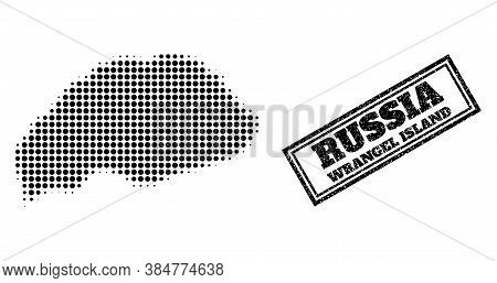 Halftone Map Of Wrangel Island, And Rubber Seal Stamp. Halftone Map Of Wrangel Island Generated With