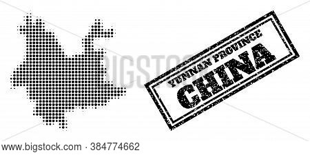 Halftone Map Of Yunnan Province, And Unclean Watermark. Halftone Map Of Yunnan Province Constructed