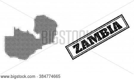 Halftone Map Of Zambia, And Unclean Watermark. Halftone Map Of Zambia Designed With Small Black Roun