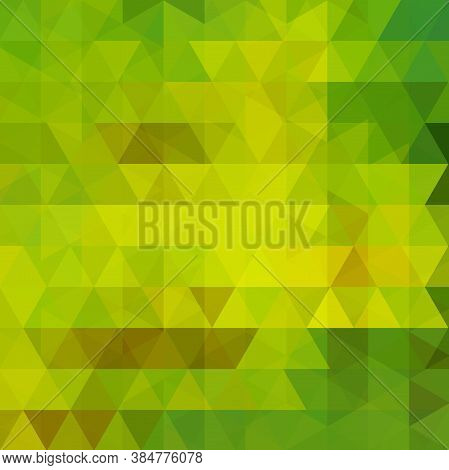 Geometric Pattern, Triangles Vector Background In Green Tones. Illustration Pattern