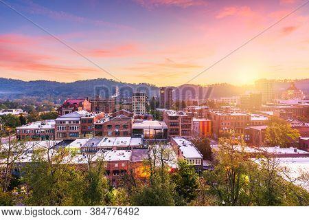 Asheville, North Carolina, USA downtown skyline at dusk.
