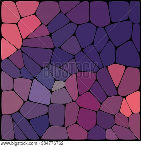 Abstract Geometrical Purple Background Consisting Of Geometric Elements Arranged On A Black Backgrou