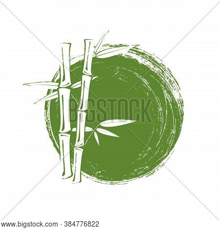 Bamboo Tree And Leaves On Green Grunge Circle Background.